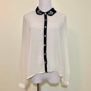 Iris white bejeweled button up blouse